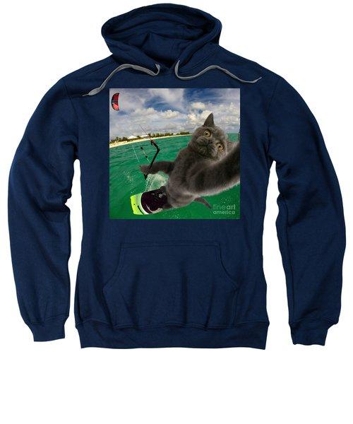 Kite Surfing Cat Selfie Sweatshirt