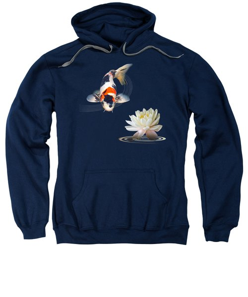 Koi Carp Abstract With Water Lily Square Sweatshirt by Gill Billington