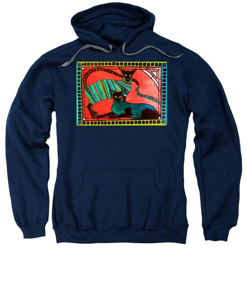 Legend Of The Siamese - Cat Art By Dora Hathazi Mendes Sweatshirt