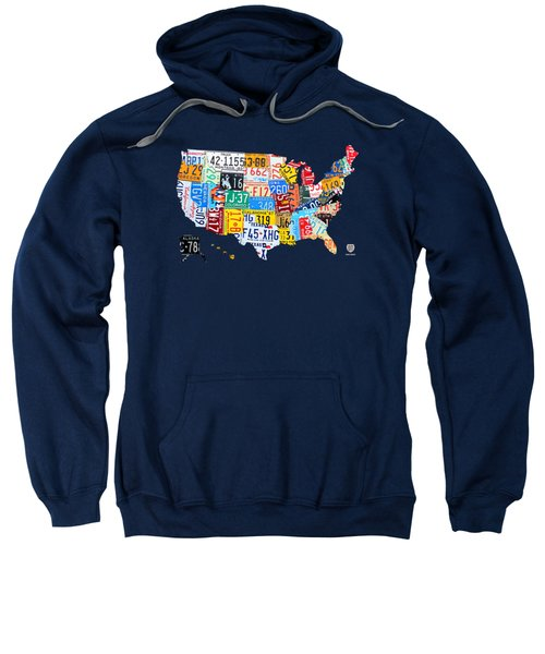 License Plate Map Of The Usa On Royal Blue Sweatshirt