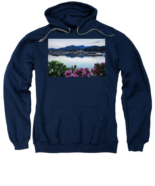 Loano Sunset Over Sea And Mountains With Flowers Sweatshirt