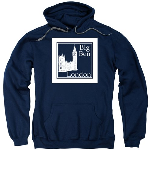 London's Big Ben In White - Inverse  Sweatshirt by Custom Home Fashions