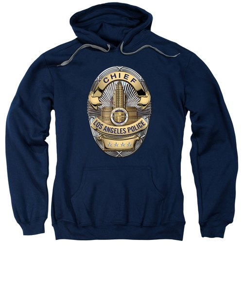 Los Angeles Police Department  -  L A P D  Chief Badge Over Blue Velvet Sweatshirt by Serge Averbukh