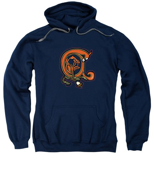 Medieval Squirrel Blue A Sweatshirt by Donna Huntriss