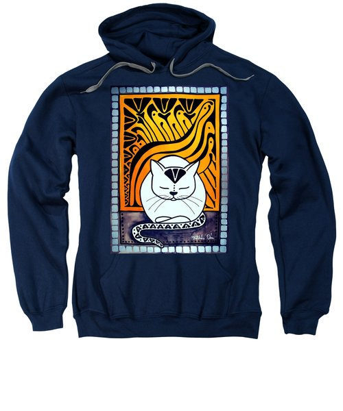 Meditation - Cat Art By Dora Hathazi Mendes Sweatshirt