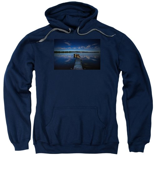 Midnight At Shady Shore On Moose Lake Minnesota Sweatshirt by Alex Blondeau