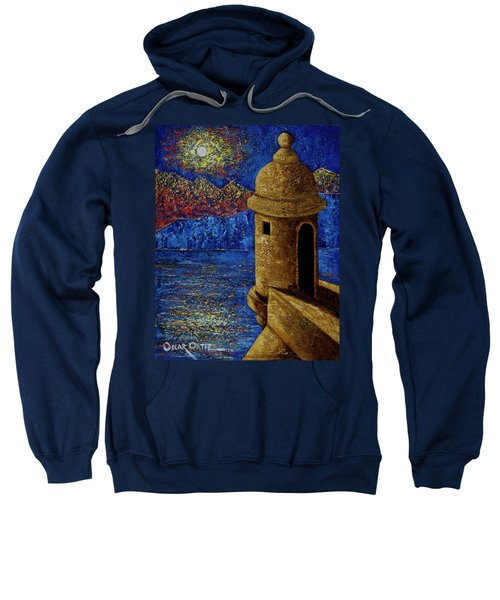 Sweatshirt featuring the painting Midnight Mirage In San Juan by Oscar Ortiz