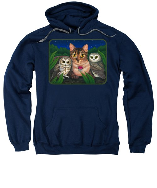 Midnight Watching - Abyssinian Cat Saw Whet Owls Sweatshirt