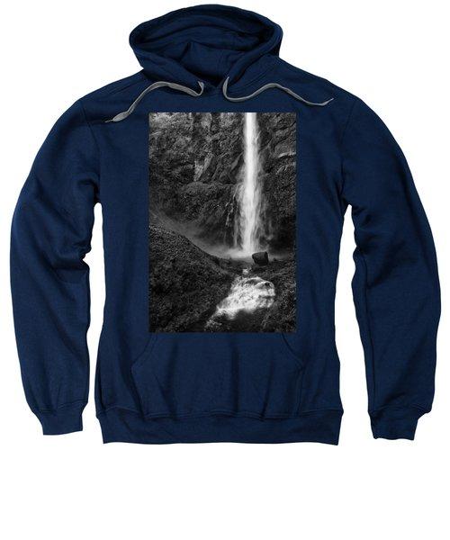 Multnomah Falls In Black And White Sweatshirt