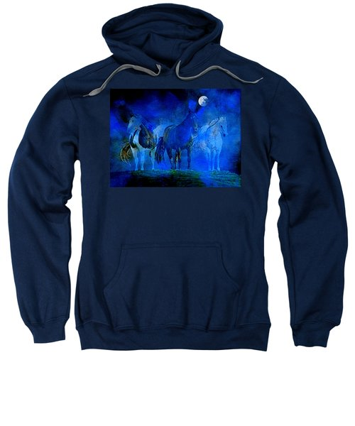 Sweatshirt featuring the painting My Whole World Turns Misty Blue by Hanne Lore Koehler