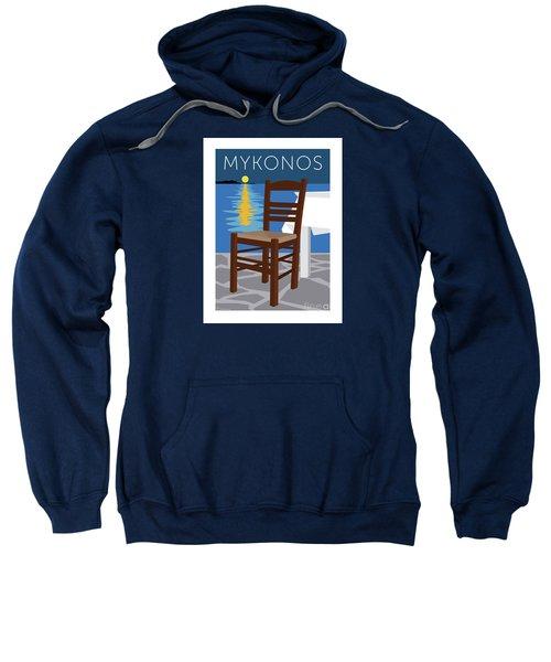 Sweatshirt featuring the digital art Mykonos Empty Chair - Blue by Sam Brennan