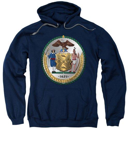 New York City Coat Of Arms - City Of New York Seal Over Blue Velvet Sweatshirt by Serge Averbukh
