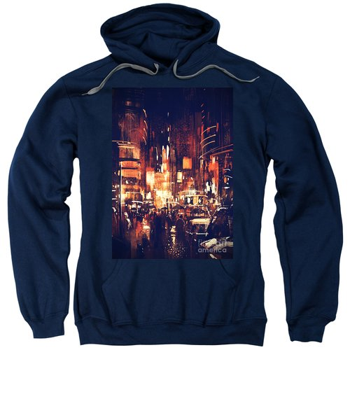 Sweatshirt featuring the painting Night Life by Tithi Luadthong