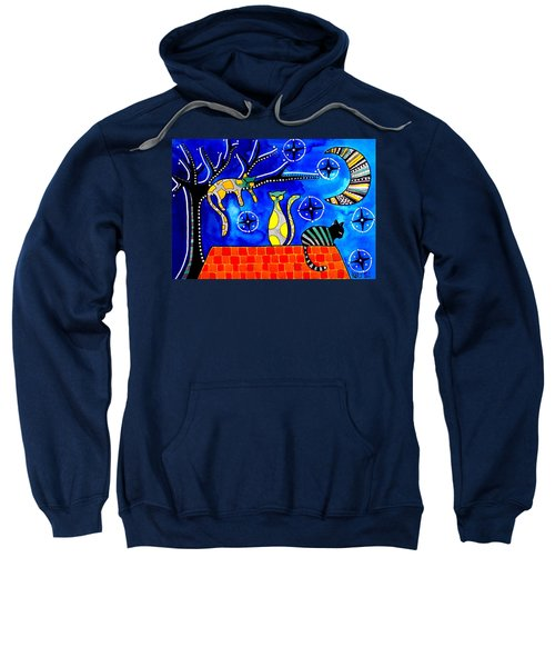 Night Shift - Cat Art By Dora Hathazi Mendes Sweatshirt