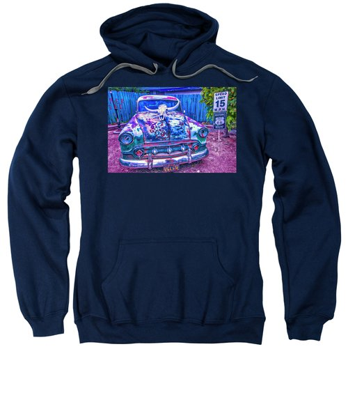 Old Car With Steer Skull Sweatshirt