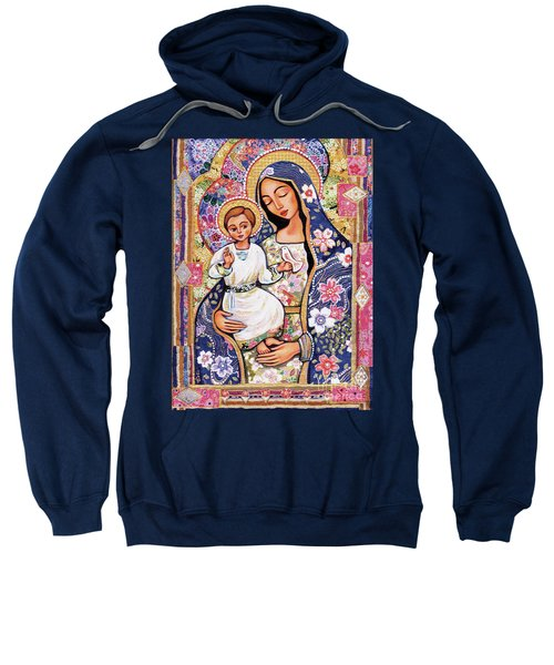 Sweatshirt featuring the painting Panagia Eleousa by Eva Campbell