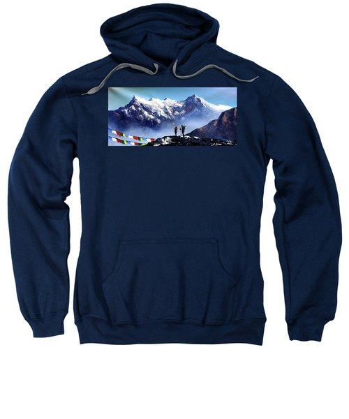 Panoramic View Of Ama Dablam Peak Everest Mountain Sweatshirt