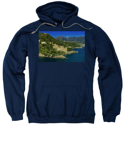 Paraggi Bay Castle And Liguria Mountains Portofino Park  Sweatshirt