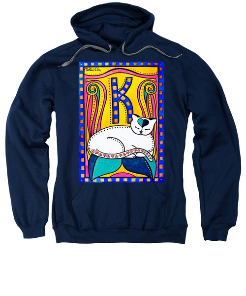 Peace And Love - Cat Art By Dora Hathazi Mendes Sweatshirt by Dora Hathazi Mendes