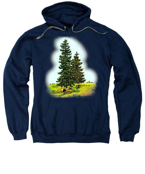 Pine Tree Nature Watercolor Ink Image 2         Sweatshirt