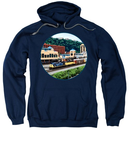 Pittsburgh Pa - Freight Train Going By Station Square Sweatshirt by Susan Savad