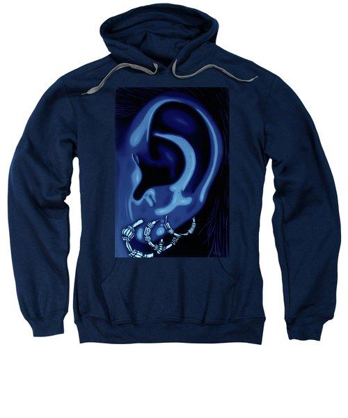 Portrait Of My Ear In Blue Sweatshirt