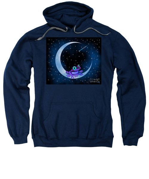 Purple Frog On A Crescent Moon Sweatshirt