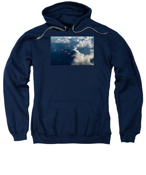 Red Arrows And Vulcan Above Clouds Sweatshirt