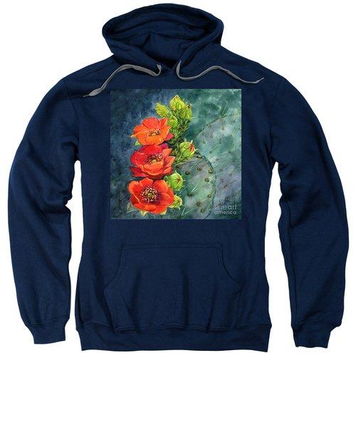 Red Flowering Prickly Pear Cactus Sweatshirt
