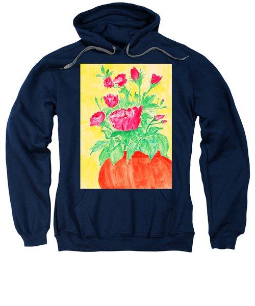 Red Flowers In A Brown Vase Sweatshirt