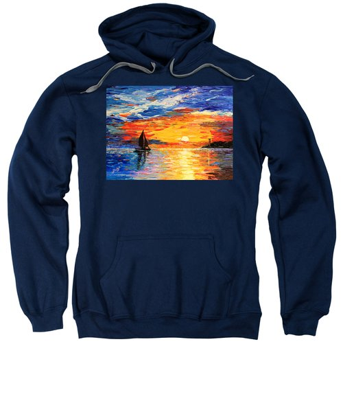 Sweatshirt featuring the painting Romantic Sea Sunset by Georgeta  Blanaru