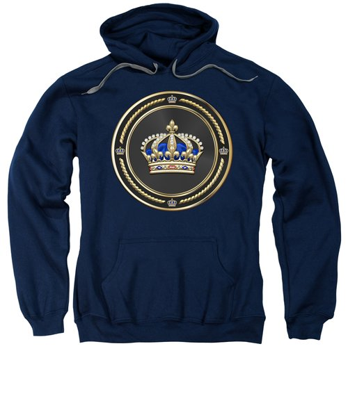 Royal Crown Of France Over Blue Velvet Sweatshirt