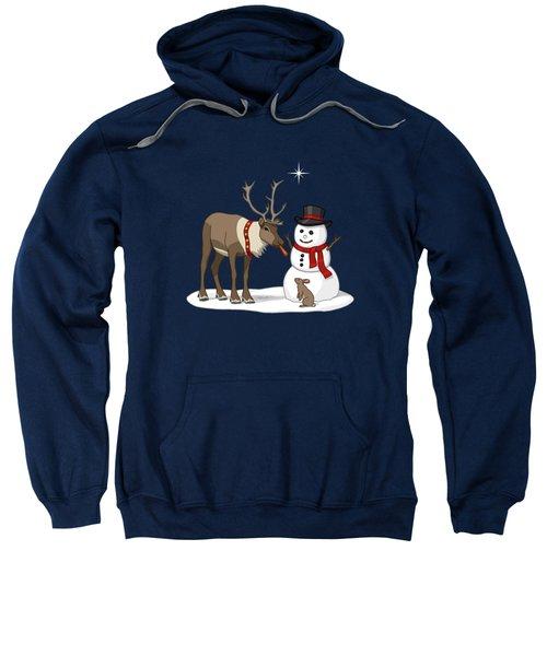 Santa Reindeer And Snowman Sweatshirt