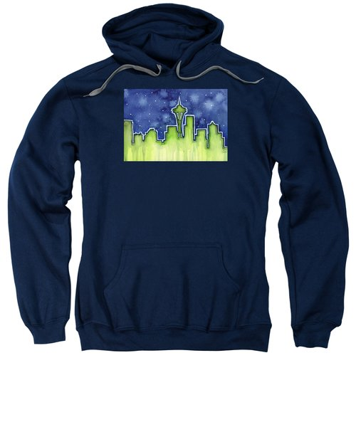 Seattle Night Sky Watercolor Sweatshirt by Olga Shvartsur