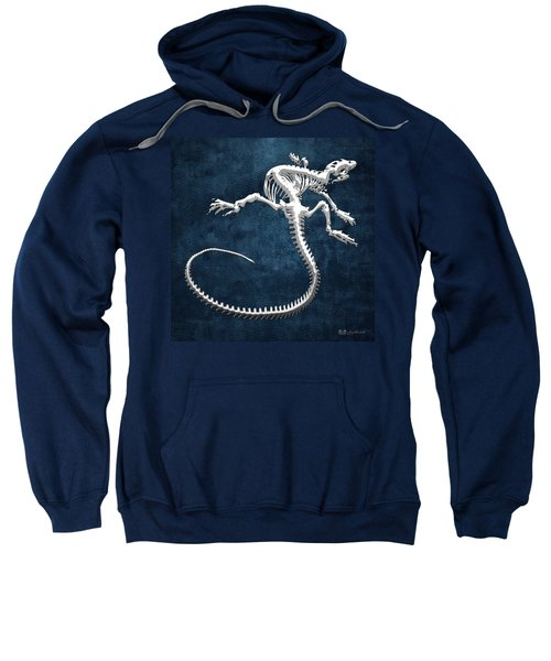 Silver Iguana Skeleton On Blue Silver Iguana Skeleton On Blue  Sweatshirt
