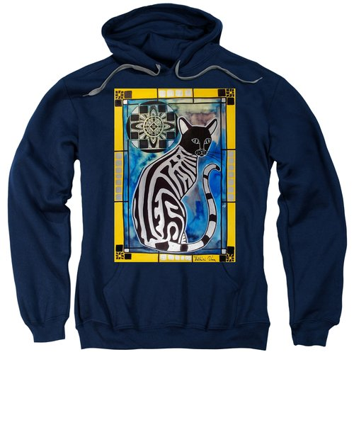 Silver Tabby With Mandala - Cat Art By Dora Hathazi Mendes Sweatshirt