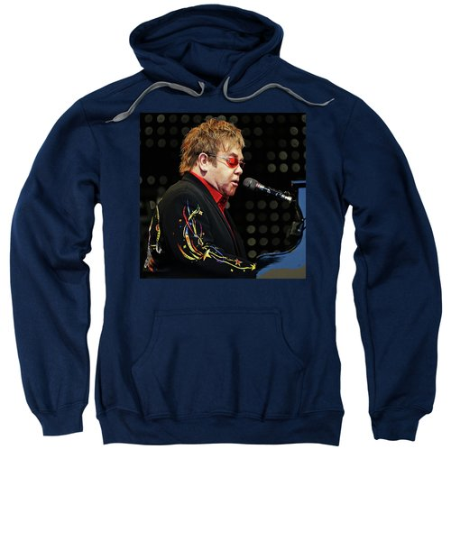 Sir Elton John At The Piano Sweatshirt by Elaine Plesser