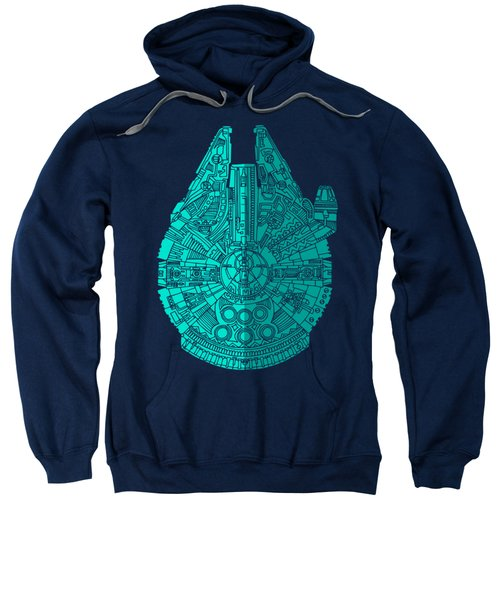 Star Wars Art - Millennium Falcon - Blue 02 Sweatshirt
