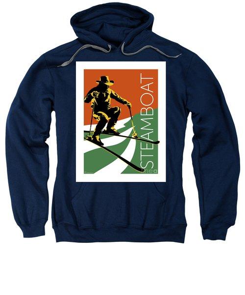 Sweatshirt featuring the digital art Steamboat Orange by Sam Brennan