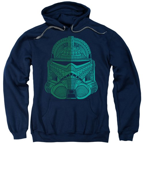 Stormtrooper Helmet - Star Wars Art - Blue Green Sweatshirt