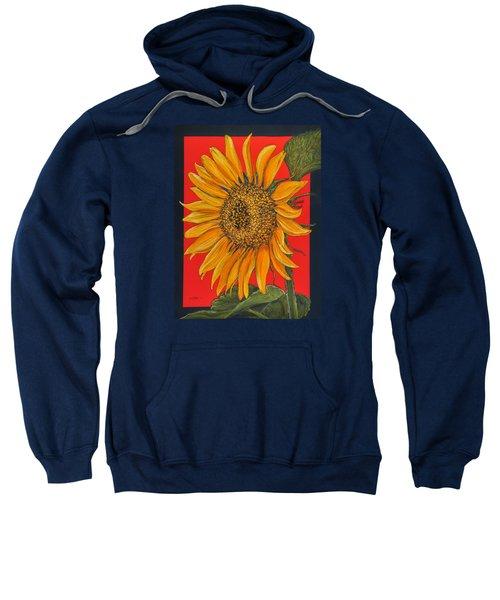 Da153 Sunflower On Red By Daniel Adams Sweatshirt