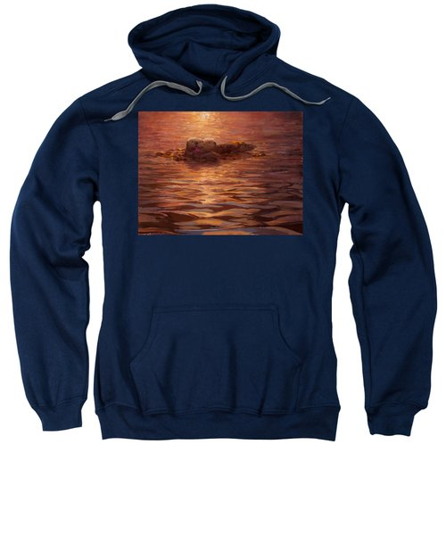 Sea Otters Floating With Kelp At Sunset - Coastal Decor - Ocean Theme - Beach Art Sweatshirt