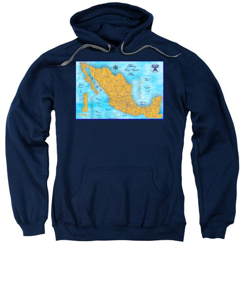 Mexico Surf Map  Sweatshirt by Lucan Hirales