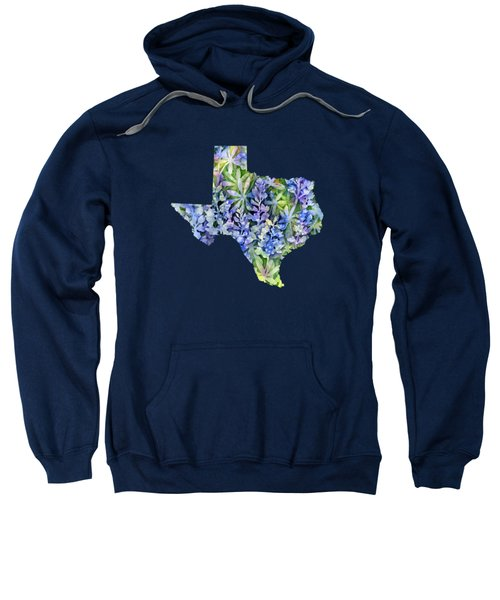 Texas Blue Texas Map On White Sweatshirt by Hailey E Herrera