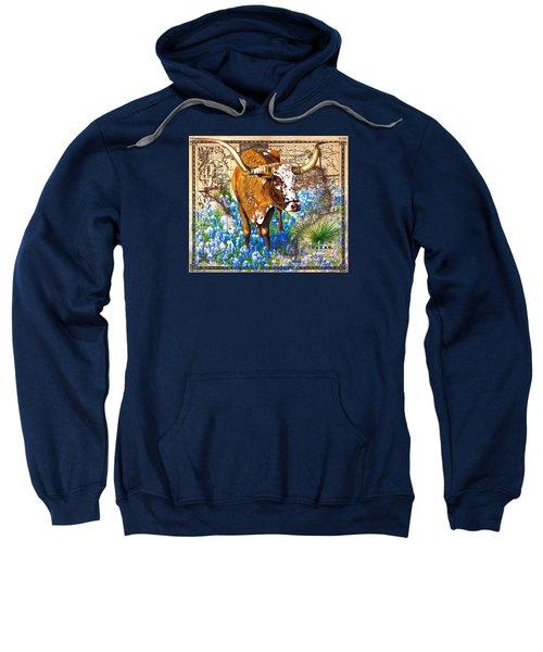 Texas Longhorn In Bluebonnets Sweatshirt