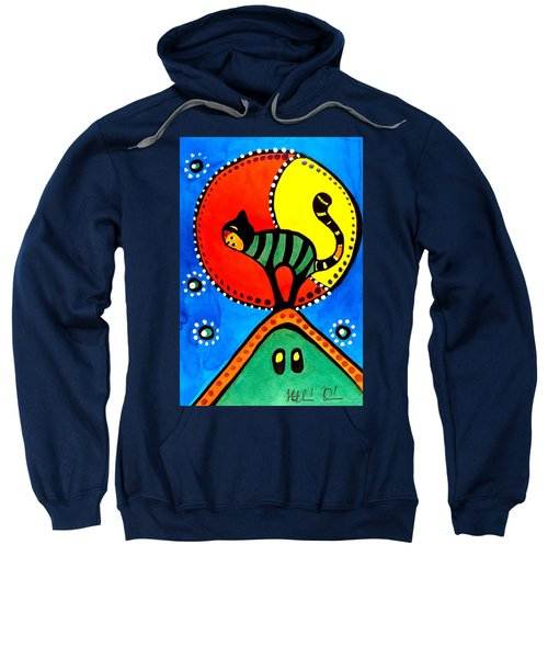 The Cat And The Moon - Cat Art By Dora Hathazi Mendes Sweatshirt by Dora Hathazi Mendes