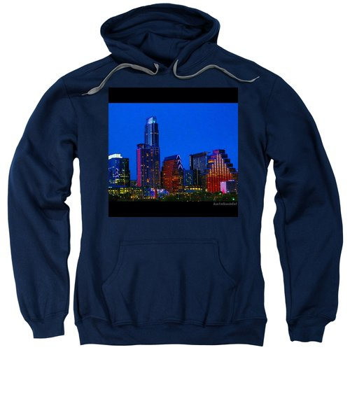 The #instaawesome #austin #skyline On A Sweatshirt by Austin Tuxedo Cat