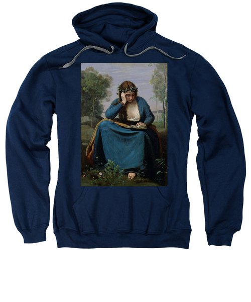 The Reader Crowned With Flowers Sweatshirt by Jean Baptiste Camille Corot