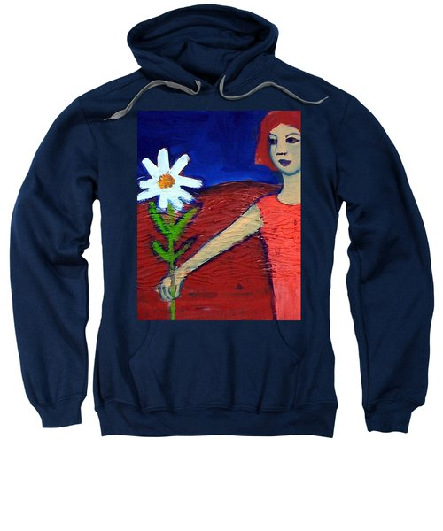 Sweatshirt featuring the painting The White Flower by Winsome Gunning