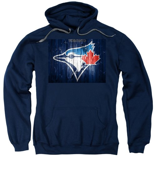 Sweatshirt featuring the mixed media Toronto Blue Jays Barn Door by Dan Sproul